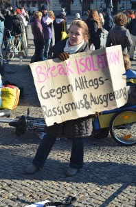Unterstützerin des Berliner Protestlagers