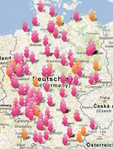 Karte mit allen geplanten Veranstaltungen in Deutschland