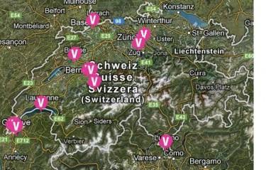 Karte mit allen bisher geplanten Veranstaltungen in der Schweiz