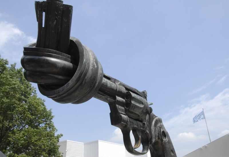 "The bronze sculpture ""Non-Violence"" in front of the UN headquarters in New York, USA. Photo by Anne Hemeda, 19 June 2010."