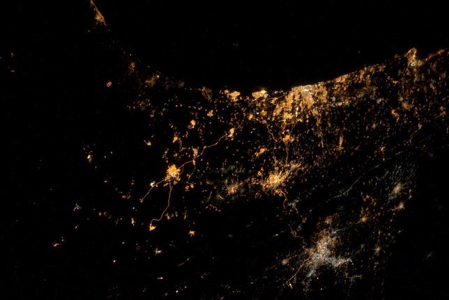 Gaza von der ISS fotografiert und getwittert von Alexander Gerst.