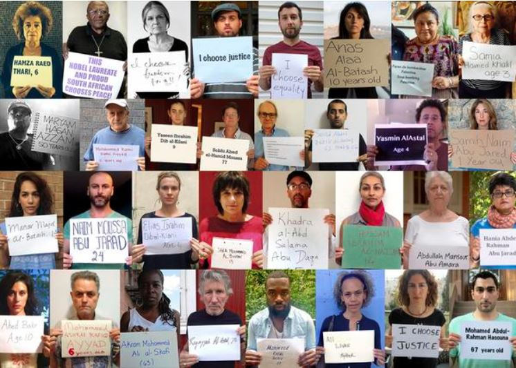 Colage der Bilder der Kampagne #GazaNames, getwittert von Mondoweiss.