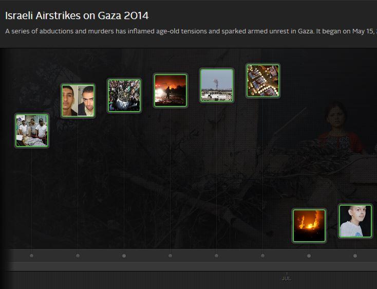 """Screenshot der Seite """"Israelische Luftangriffe auf Gaza 2014"""" der Plattform CrowdVoice"""