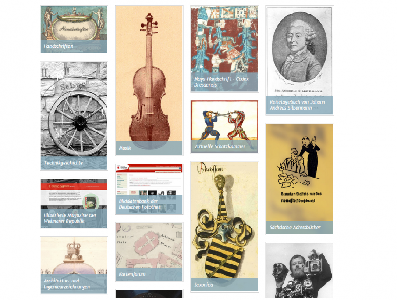 Bildschirmabdruck der Startseite der Digitalen Sammlung der SLUB